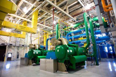 a network of water tanks, pumps in pipes in the new chilled water plant