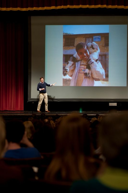 Conor Grennan presents in Burruss Hall auditorium