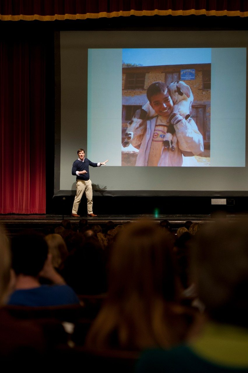 "Conor Grennan, the author of 'Little Princes,"" which is the university's 2013-14 and 2014-15 Common Book, gave a presentation in the Burruss Hall auditorium on Nov. 11, 2013."