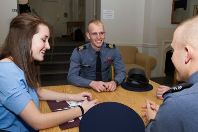 The West Eggleston study lounge is one of the spots where cadets and civilians gather.