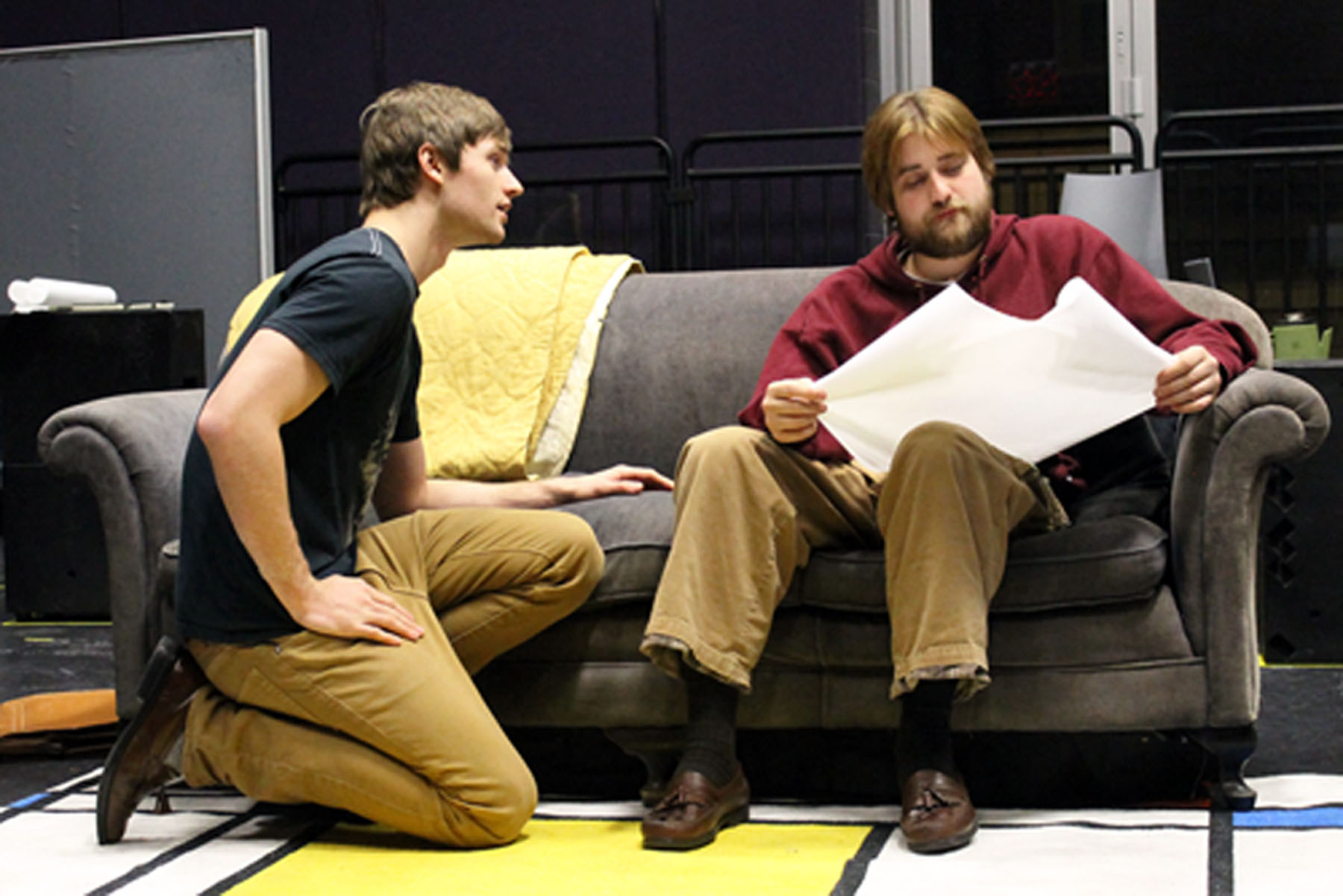 Virginia Tech theatre students rehearse a scene