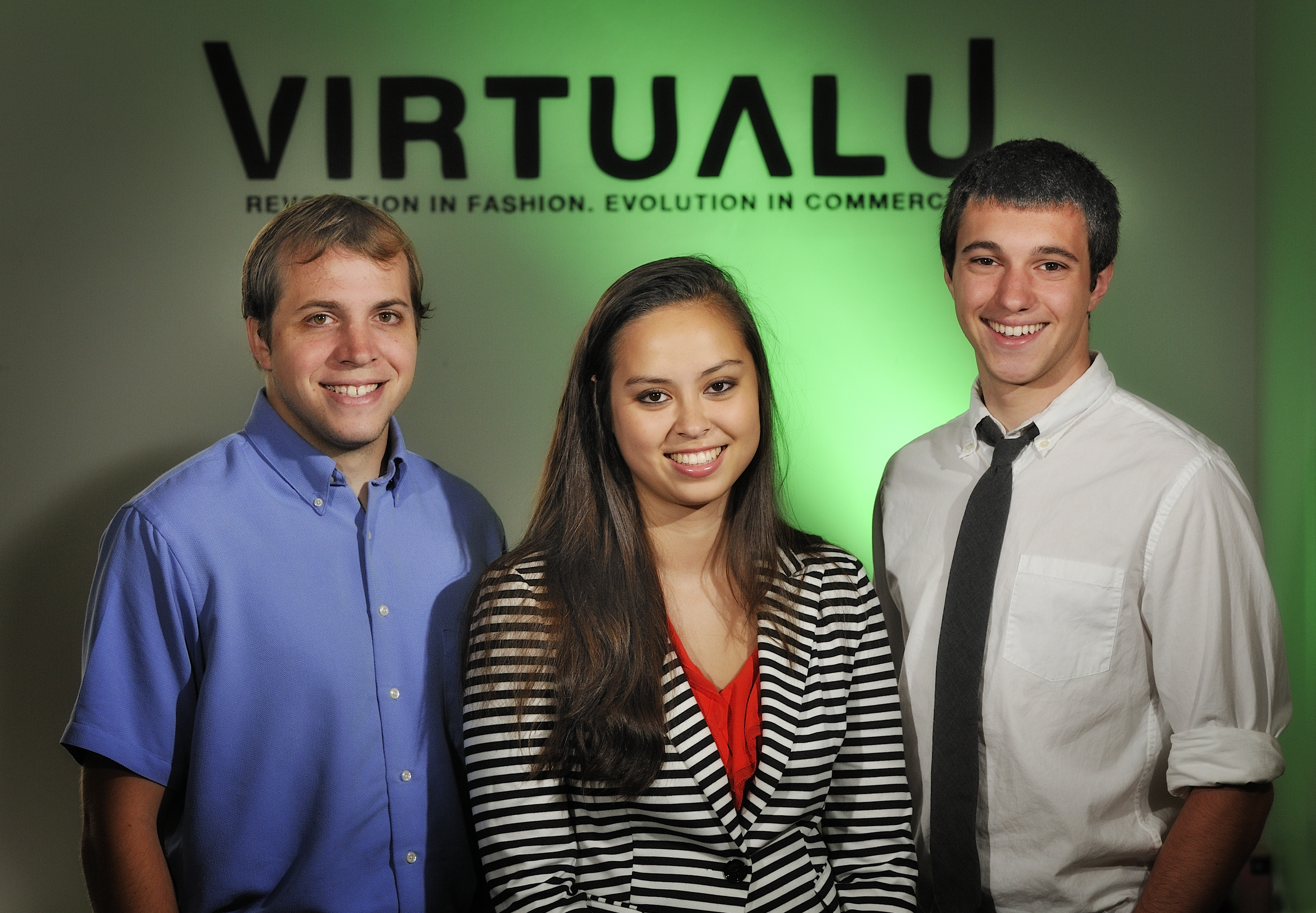 The VirtualU co-founders are (left to right) Louis Cirillo, Caroline Pugh, and Nick Gagianas.