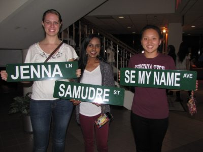 Making personalized street signs is one of the free activities at GobblerNights.