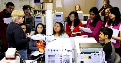 Virginia Tech engineering students learn how to use analytical equipment.