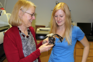 Andrea Dietrich (left), a professor of Civil and Environmental Engineering in the College of Engineering, with her Ph.D. student Amanda Sain, used a beaker of licorice to give students an example of an odor in contaminated water.
