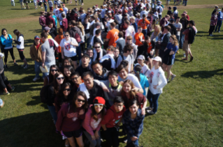 Student volunteers gather on the Drillfield to get their Big Event project assignments. More than 7,000 volunteers are expected to take part this year.