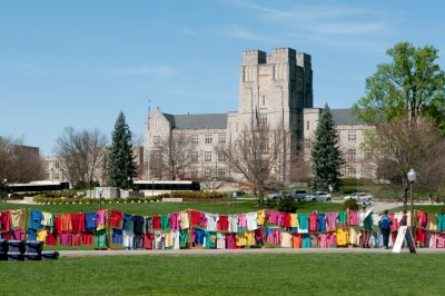 The Clothesline Project is a visual representation of the effect of violence against women and the impact it has on society. It is set-up on the Drillfield every March during Women's Month.