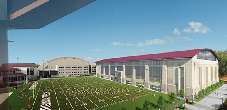Architectural rendering of the proposed indoor athtetic practice facility