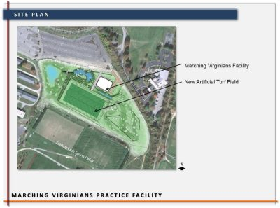Site plan of Marching Virginians proposed practice facility