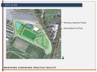 The proposed Marching Virginians Practice Facility includes an indoor facility and an adjacent artificial turf outdoor field.