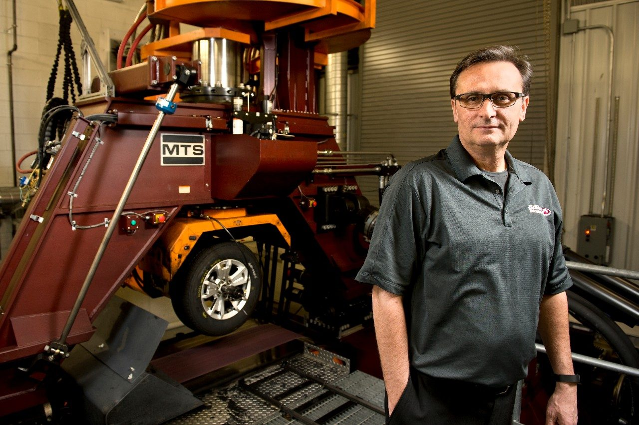 Frank Della Pia, executive director of the National Tire Research Center, an affiliated company of Virginia Tech and the Virginia Tech Transportation Institute, oversees research and testing of tires on the $11.3 million, custom-designed Flat-Trac LTRe tire machine in Alton, Va.