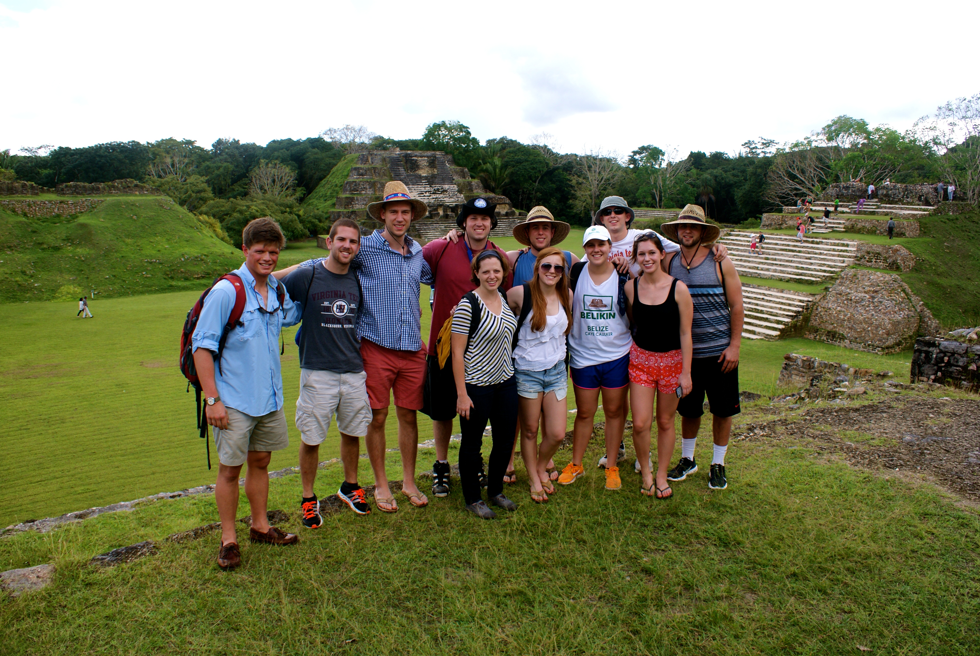 Erin Helbling stands with a group of students in Belize.