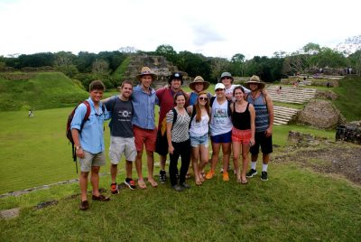 While on a service trip to Belize, Erin Helbling, front row, third from left, and fellow Hokies visited the Mayan ruins of Altun Ha.