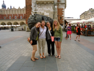 During a summer internship in Prague, Erin Helbling, second from left, visited Krakow with other American students studying abroad.