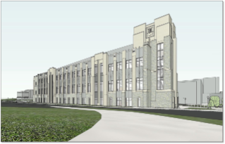 Architectural rendering of the new classroom building from the northwest perspective.