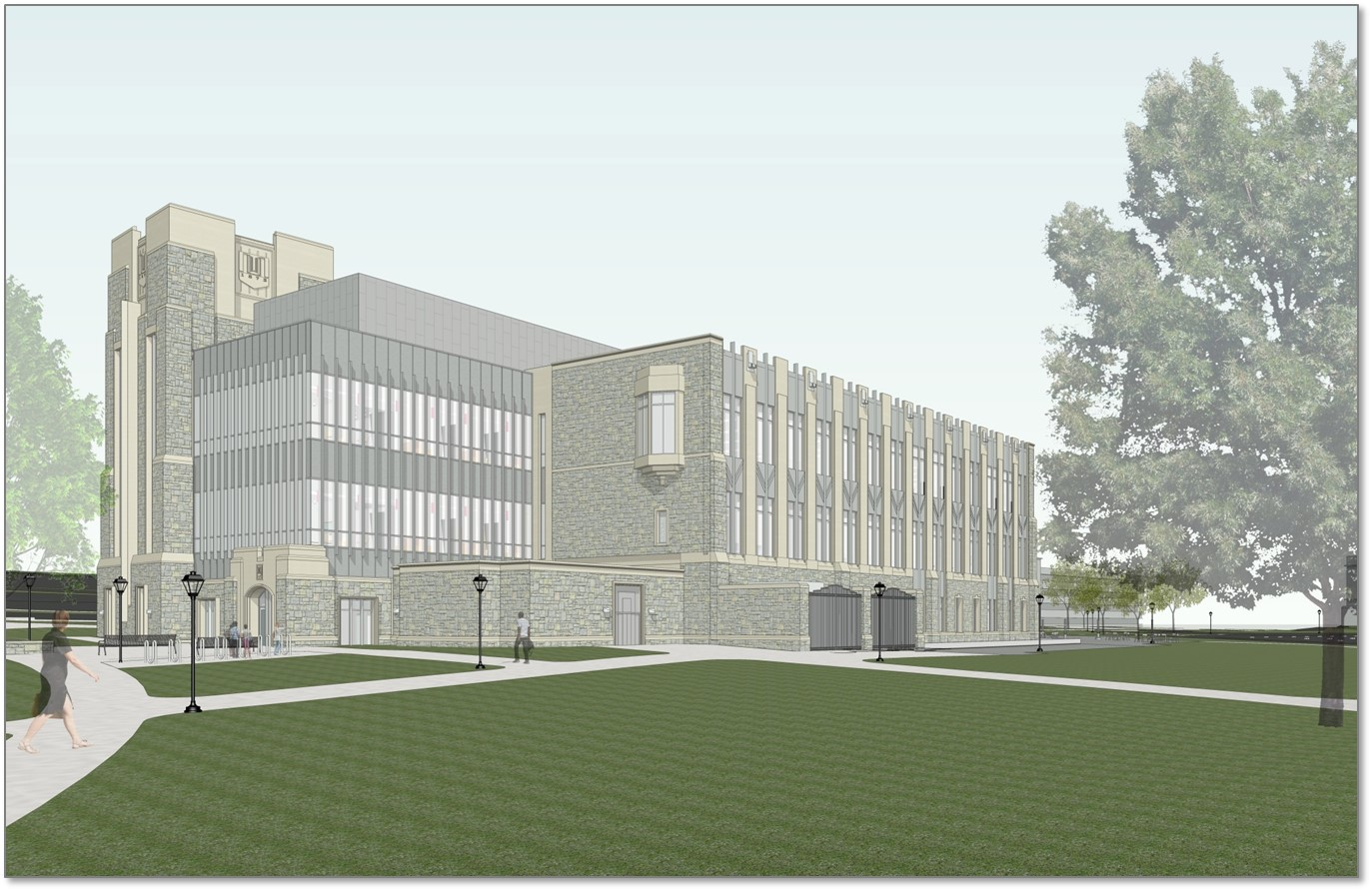 Architectural rendering of the new classroom building from the southwest.