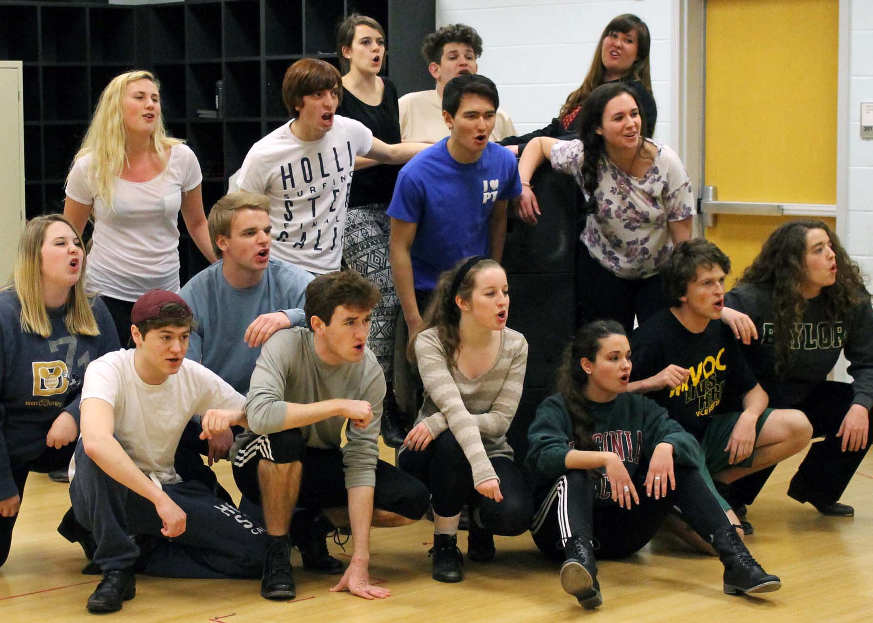 "Theatre students rehearsal for the musical ""Spring Awakening."""
