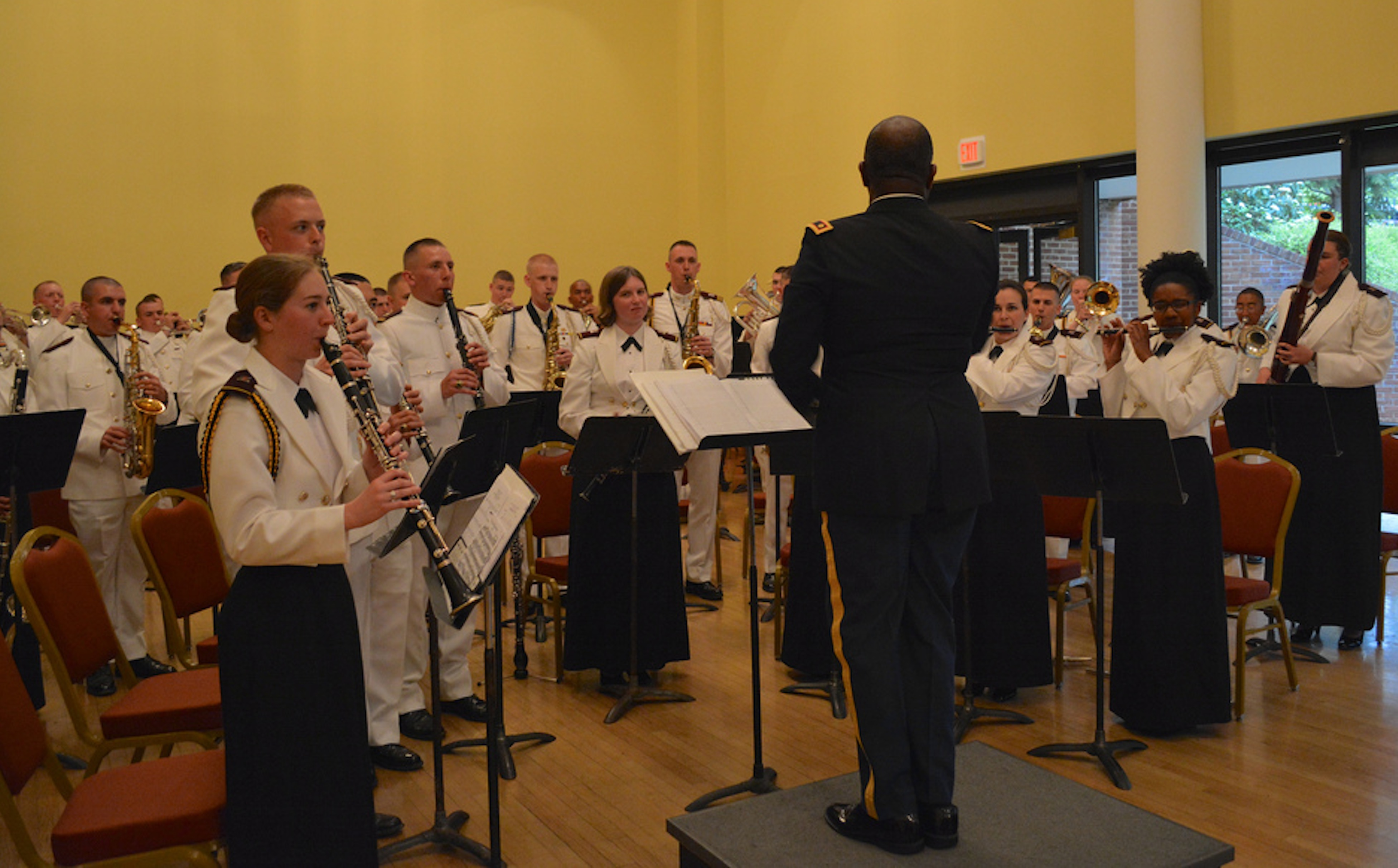 The Virginia Tech Corps of Cadets regimental band, the Highty-Tighties, play at their annual concert band performance last spring in the Old Dominion Ballroom in Squires Student Center.