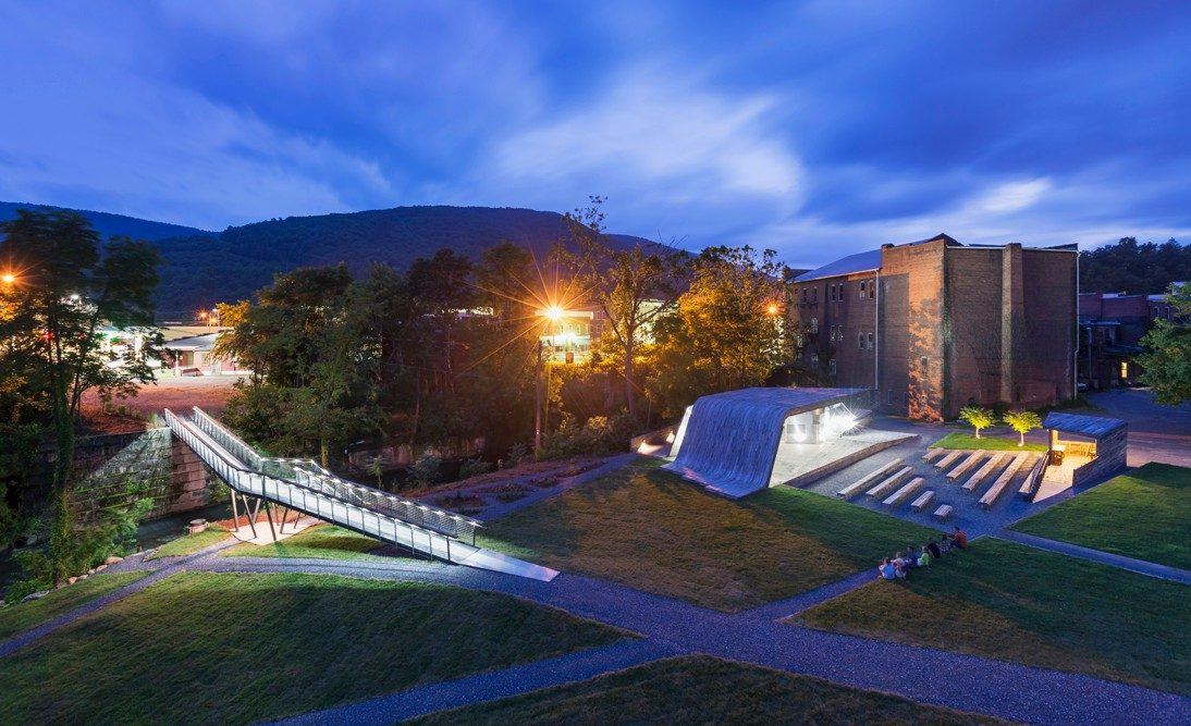 The Masonic Amphitheater and pedestrian bridge in Clifton Forge, Virginia.