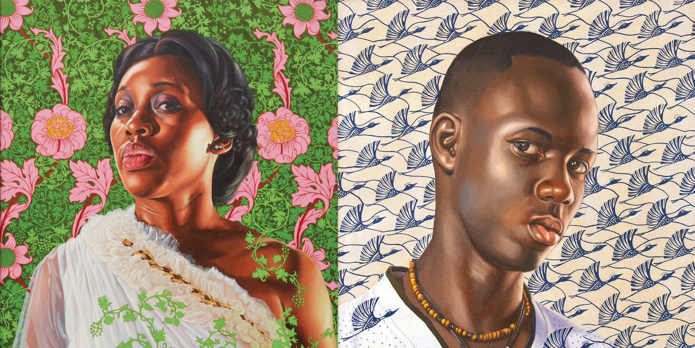 Two oil painting portraits on colorful patterned backgrounds.
