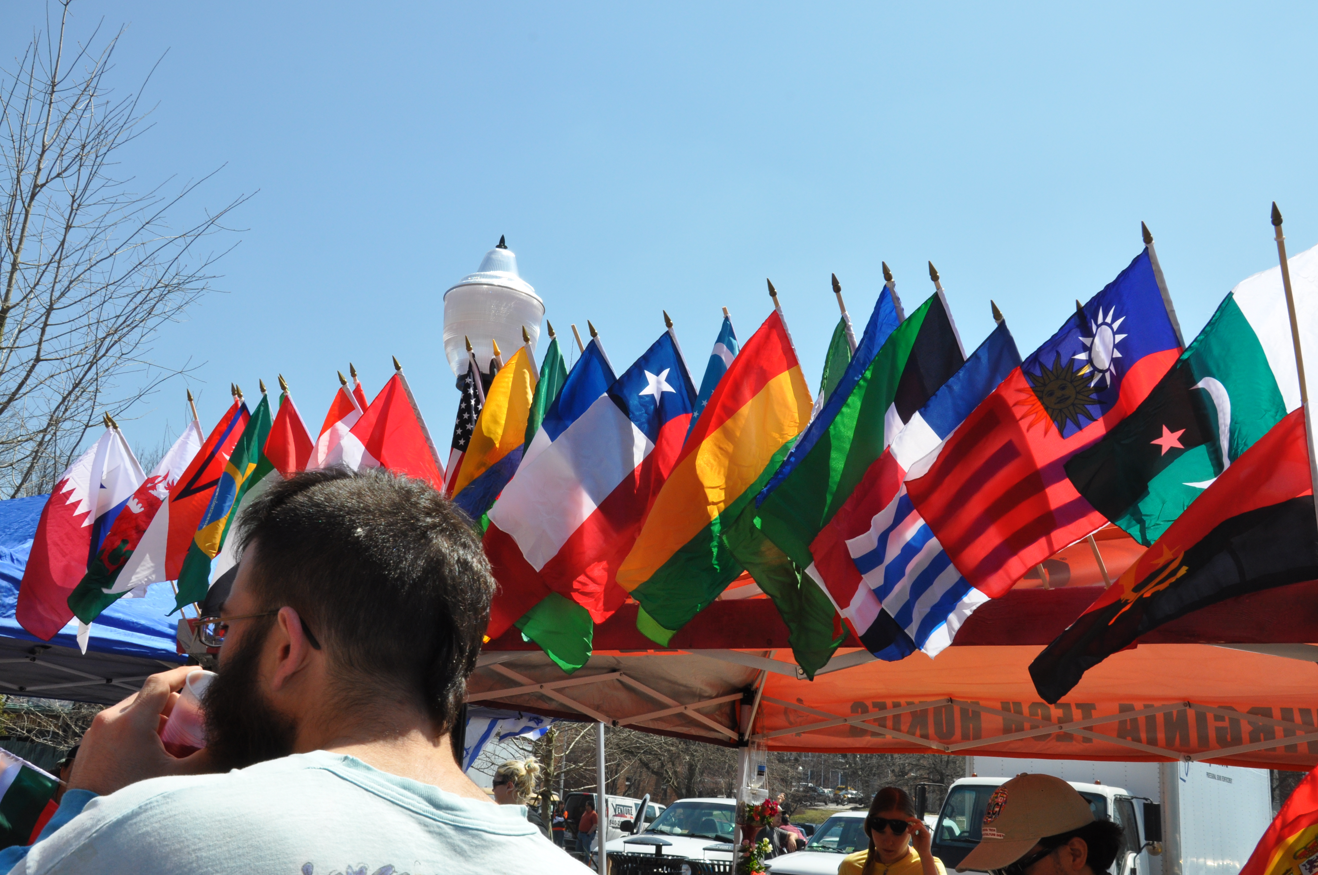 Flags of many nations displayed at the International Street Fair