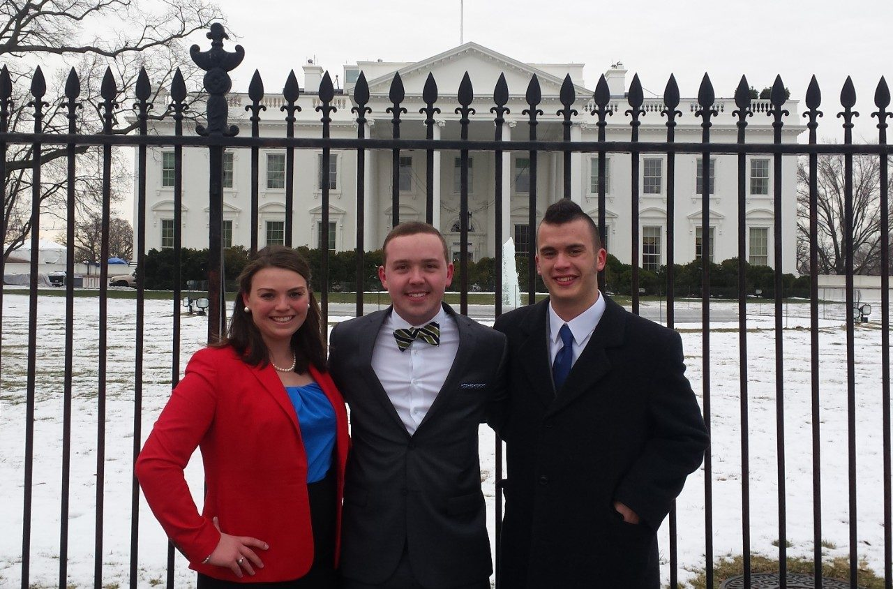 Virginia Tech students Sarah McKay, Austin Larrowe, and Wes Williams pose outside of the White House during the Truman Scholarship finalist interview process, which took place on March 6 in Washington, D.C.