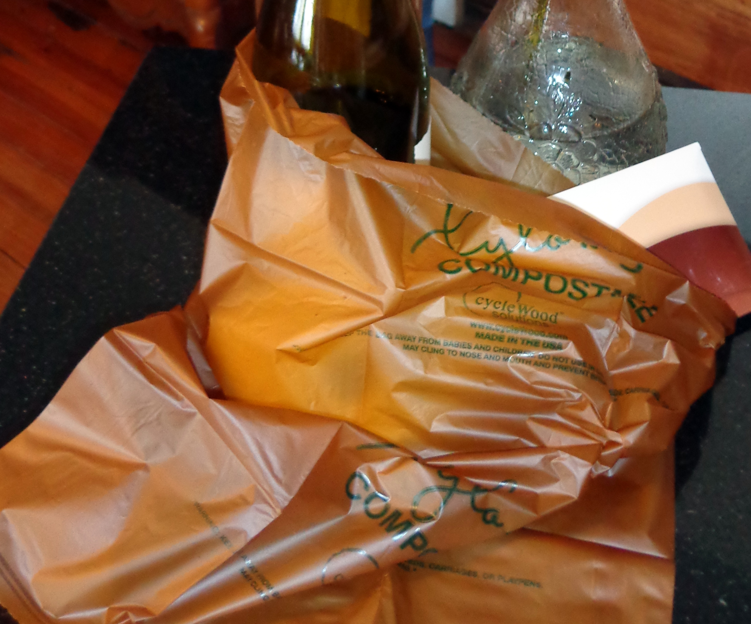 This cycleWood grocery bag will decompose in 180 days when composted.