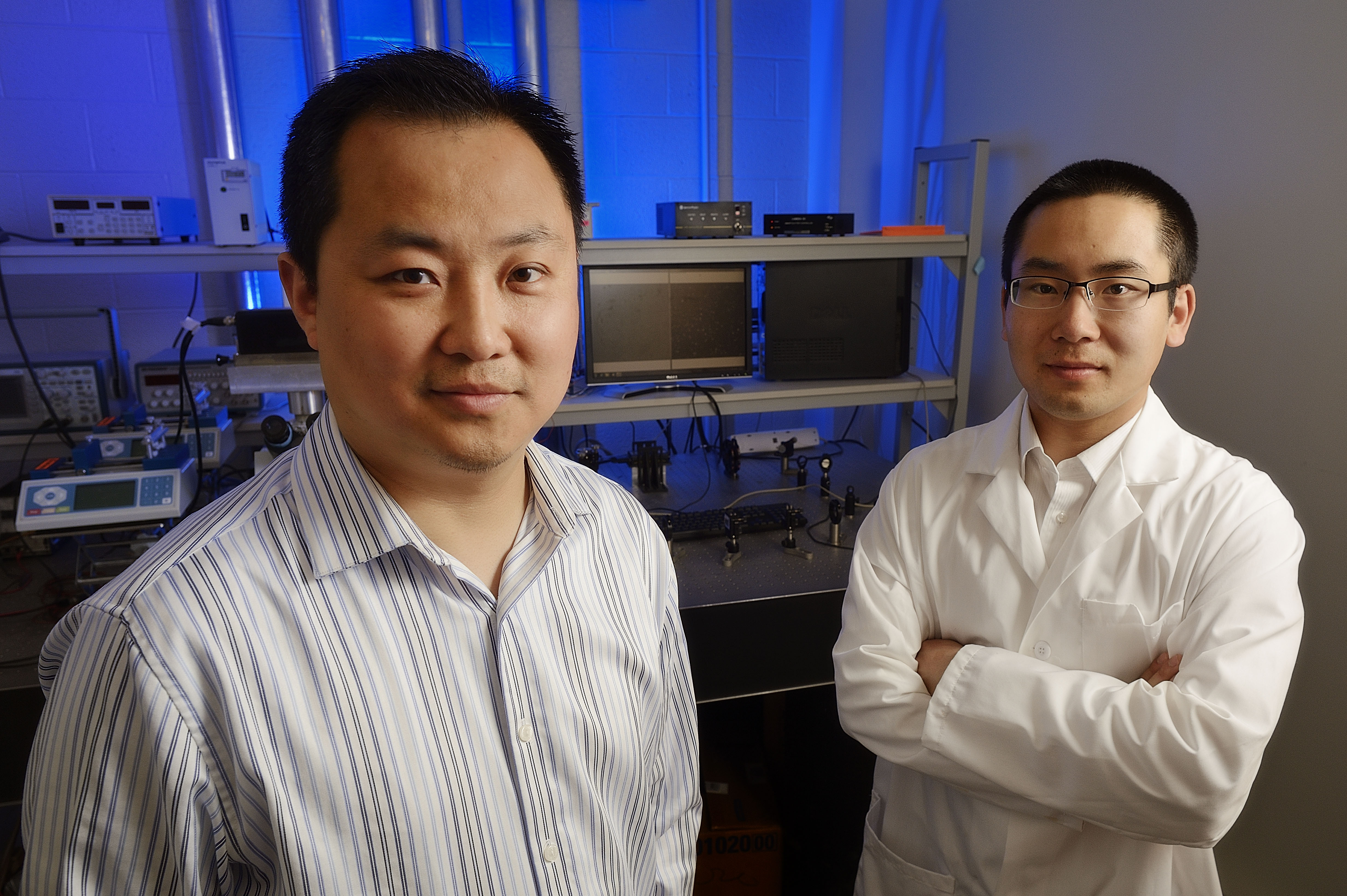 Chemical engineer Chang Lu and his graduate student Zhenning Cao