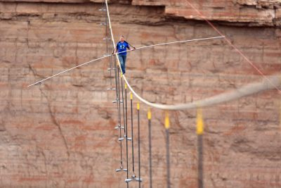 "Tightrope walker Nik Wallenda crossed the Grand Canyon as part of Discovery Channel's record-breaking live broadcast, ""Skywire Live with Nik Wallenda,"" in summer 2013. Photo courtesy of Discovery Communications."