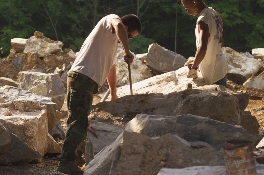 Quarry workers produce Hokie Stone.