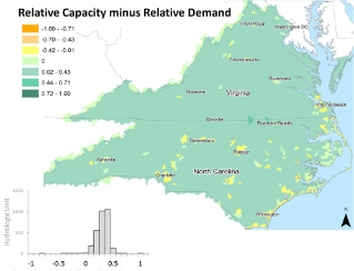 Map colors show potential freshwater recreational fishing sustainability, as estimated by the difference between relative capacity and relative demand. Areas where measures of relative capacity exceed relative demand (green) are more likely to be sustainable. In contrast, areas where demand exceeds capacity (yellow and orange) are more likely to experience ecological pressures attributed to overuse. See additional maps and figures in the study article online.