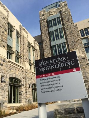 One of the new entrance signs installed outside of the Signature Engineering building.