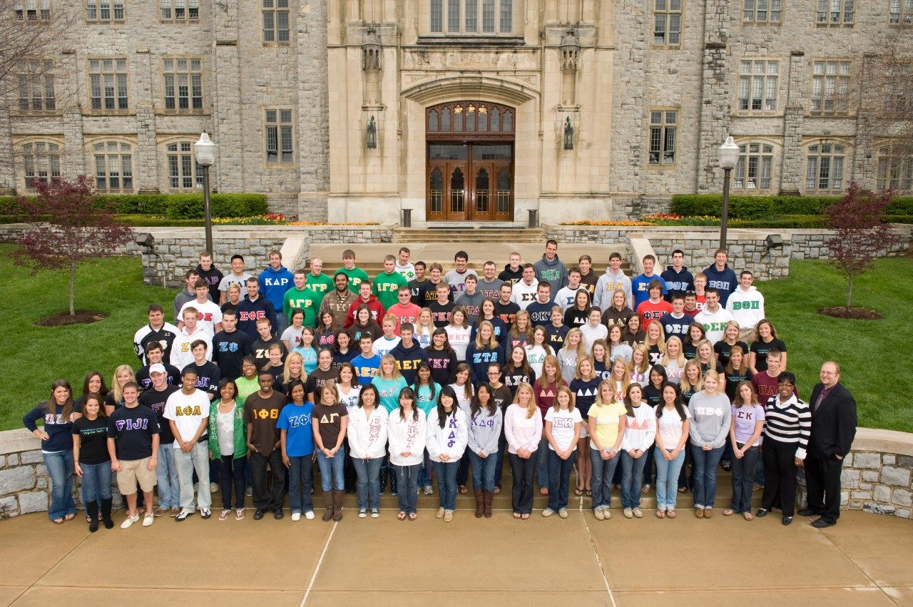Members of Virginia Tech's fraternities and sororities gather outside Burruss Hall. There more than 4,300 students involved in fraternities and sororities at Virginia Tech.