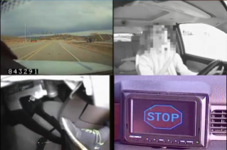 This image captured from the Virginia Tech Transportation Institute's adaptive stop-yield study shows images of a participant as they use technology that alerts them of driving actions -- stop or yield – on a dashboard screen, rather than a road sign. Cameras capture the roadway, the driver's facial reaction and line of sight (the face has been blurred for privacy), the driver's foot on the car's pedals, and the dashboard screen alert. The tests were carried out on the Virginia Smart Road on a closed course.