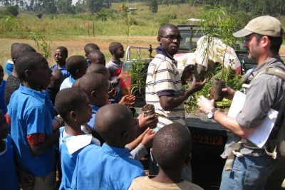 Two adults hand tree seedlings to a group of children.