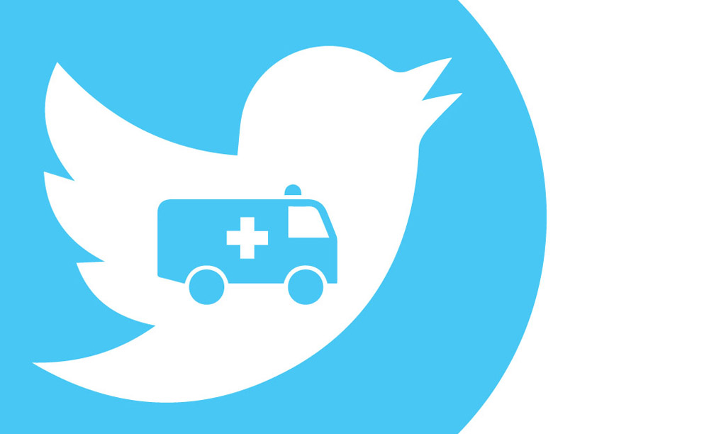 An ambulance is centered in the chest of the Twitter bird icon.