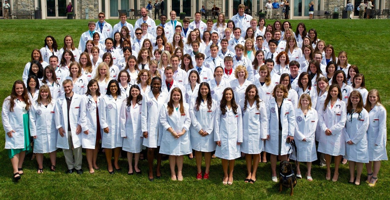 During the matriculation ceremony, each member of the Class of 2018 received a white lab coat and a stethoscope before reading the veterinary students' oath and assembling for a group photo.