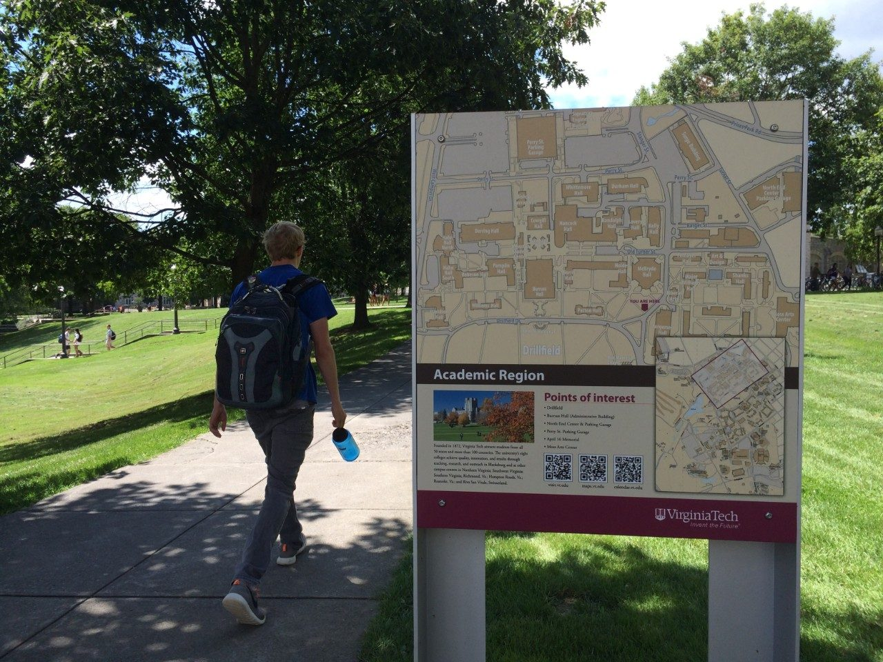 New maps installed in key areas help pedestrians navigate campus.