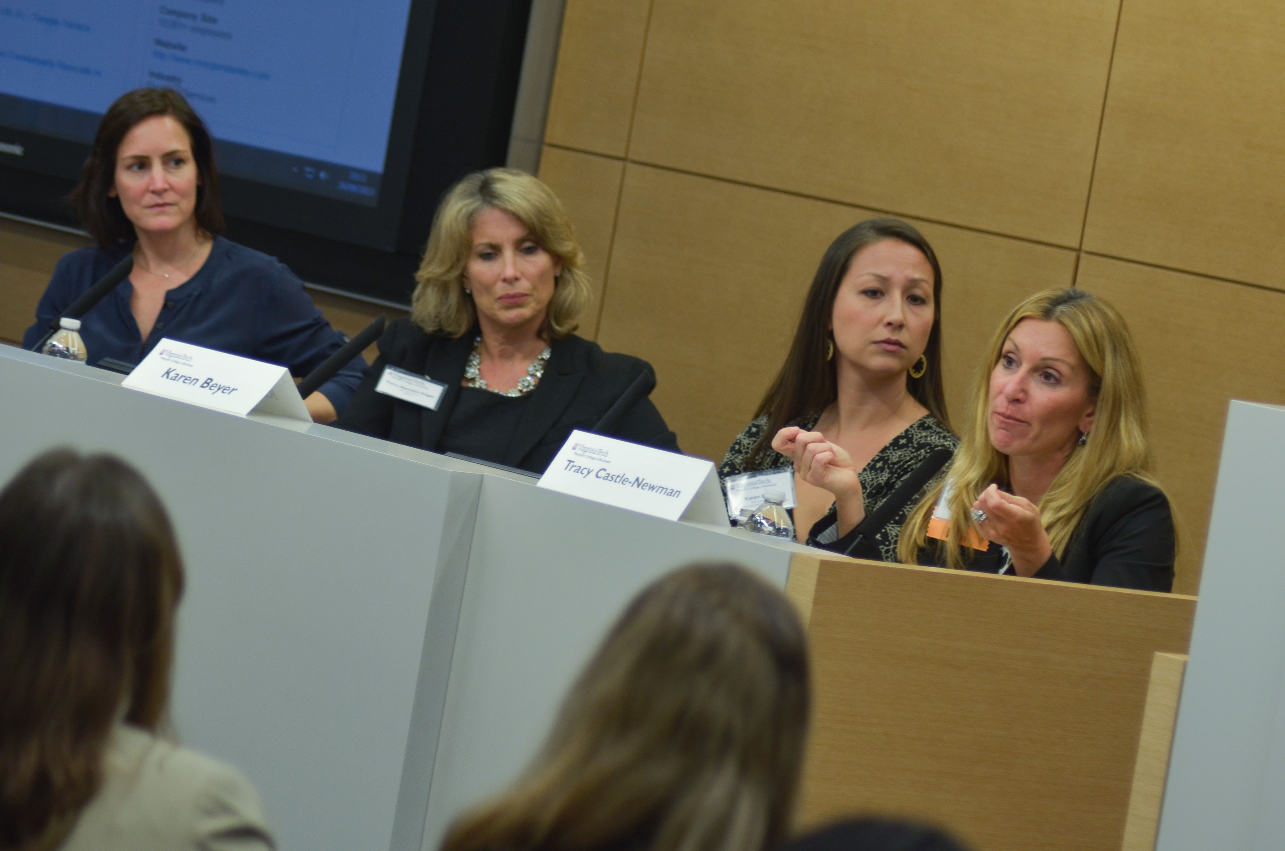 The Women in Business event last year in New York City featured several panelists, including Pamplin finance alumna and Morgan Stanley managing director Tracy Castle-Newman (far right).