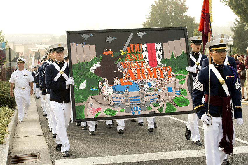 photograph of cadets in homecoming parade