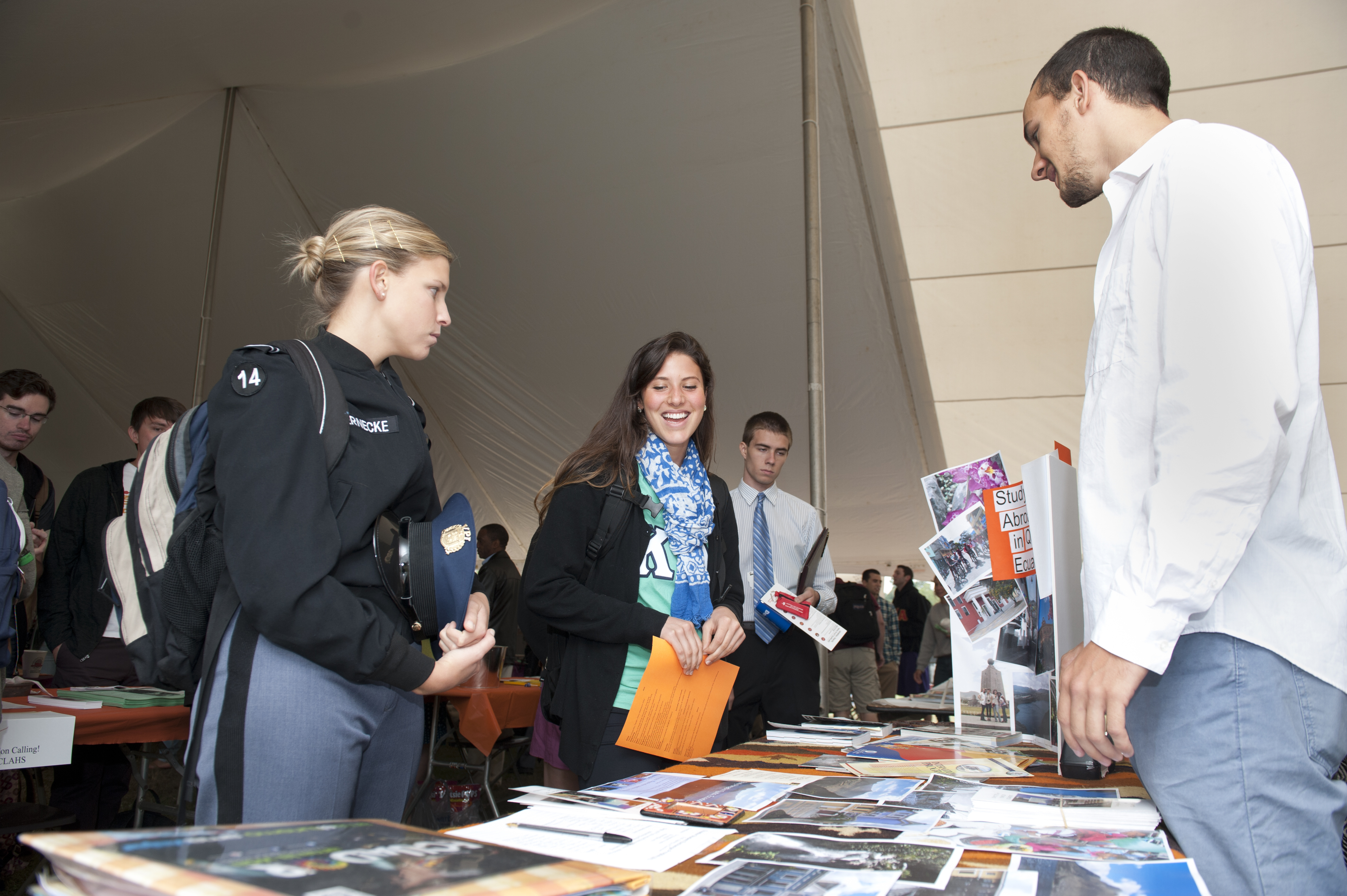 Students gather information at the Global Education Fair.