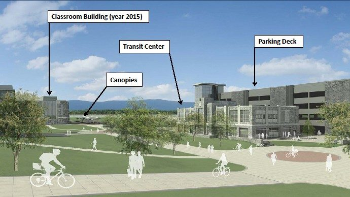 Artist rendering of proposed transit facility and pedestrian paths