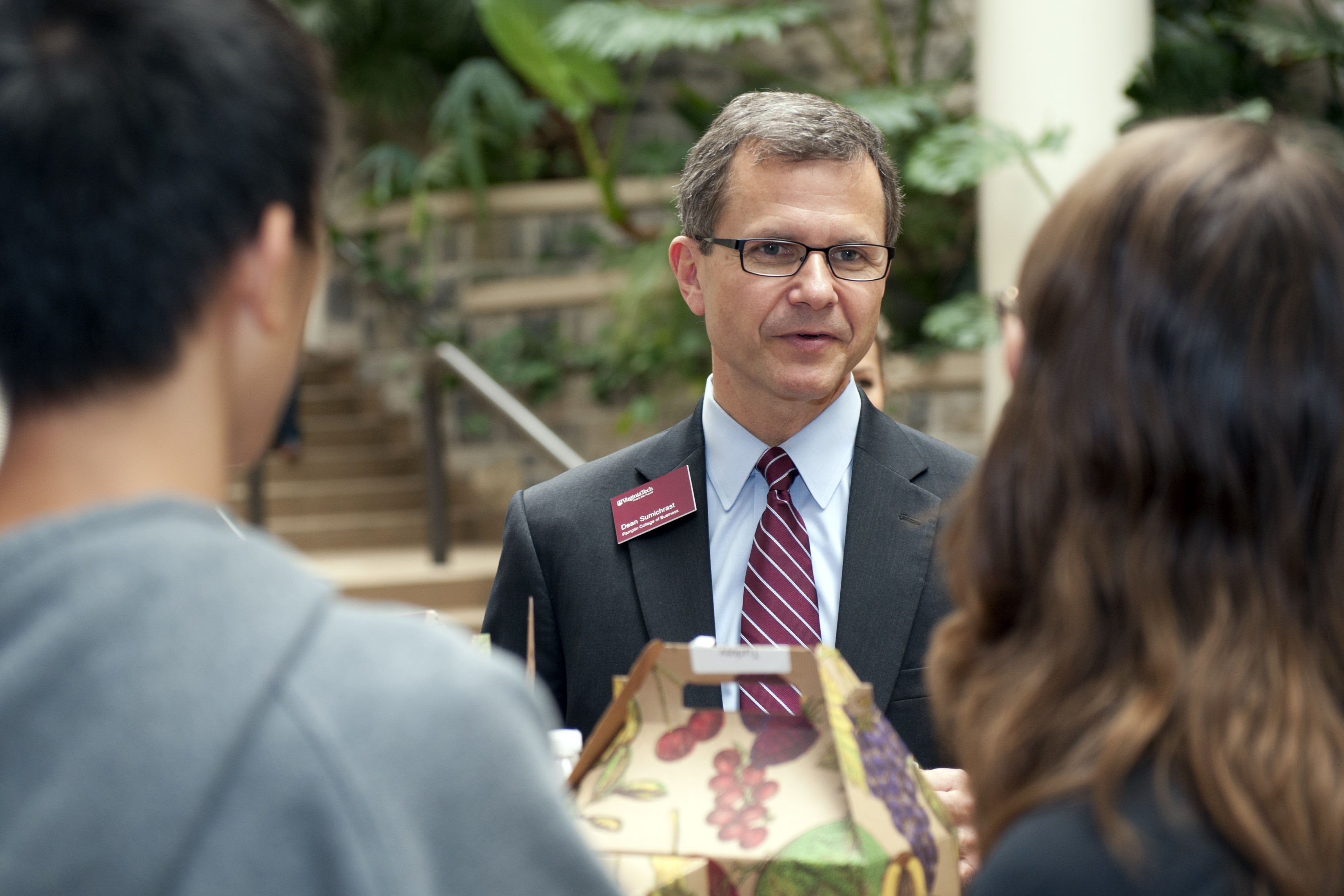 Dean Sumichrast meets students in one of his initiatives to foster a stronger Pamplin community.
