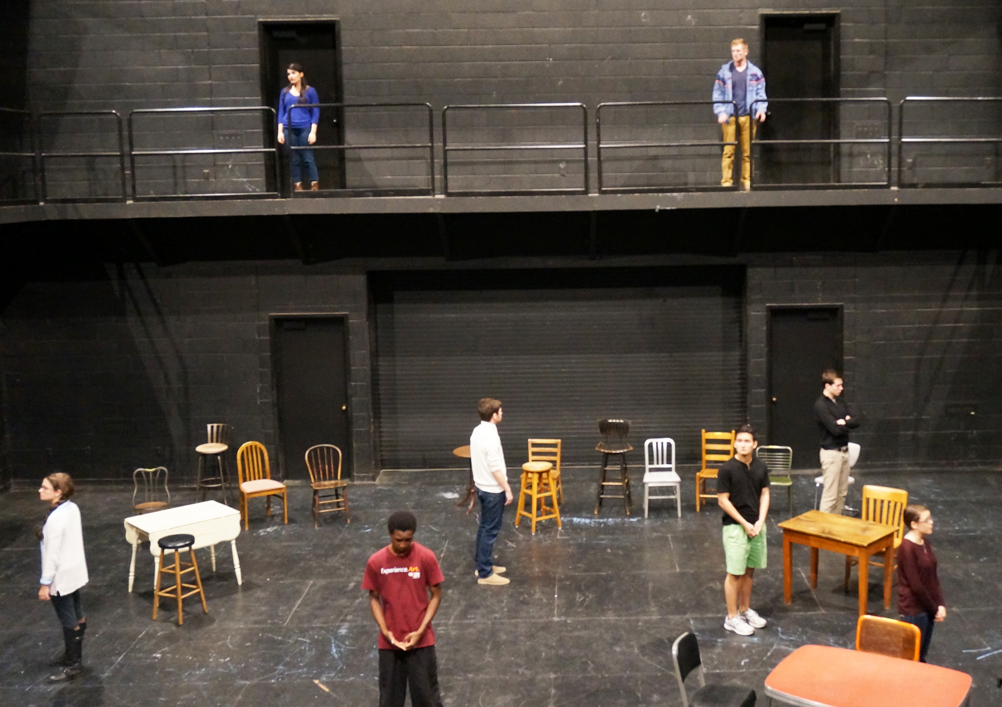 "Students rehearse for ""The Laramie Project"" in Studio Theatre"