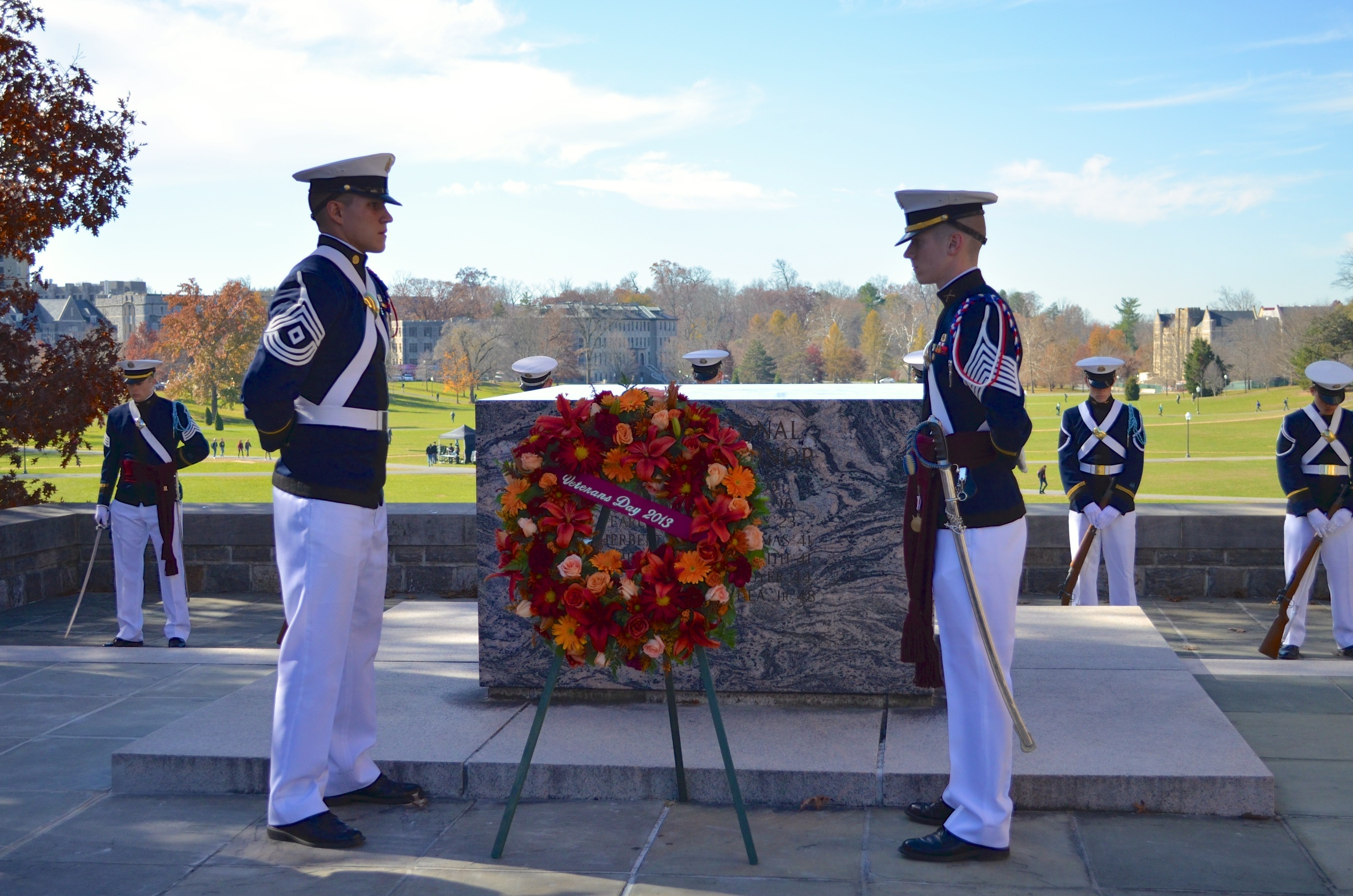 Presentation of the memorial wreath at Veterans Day Ceremony in November 2013 at the Pylons.