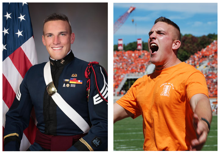 Cadet Shane Wescott in his corps of cadets professional image, countered with an image of him screaming at a football game