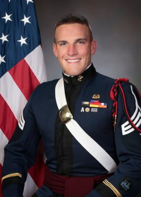 Cadet Shane Wescott showcases his corps regalia in his composite picture.