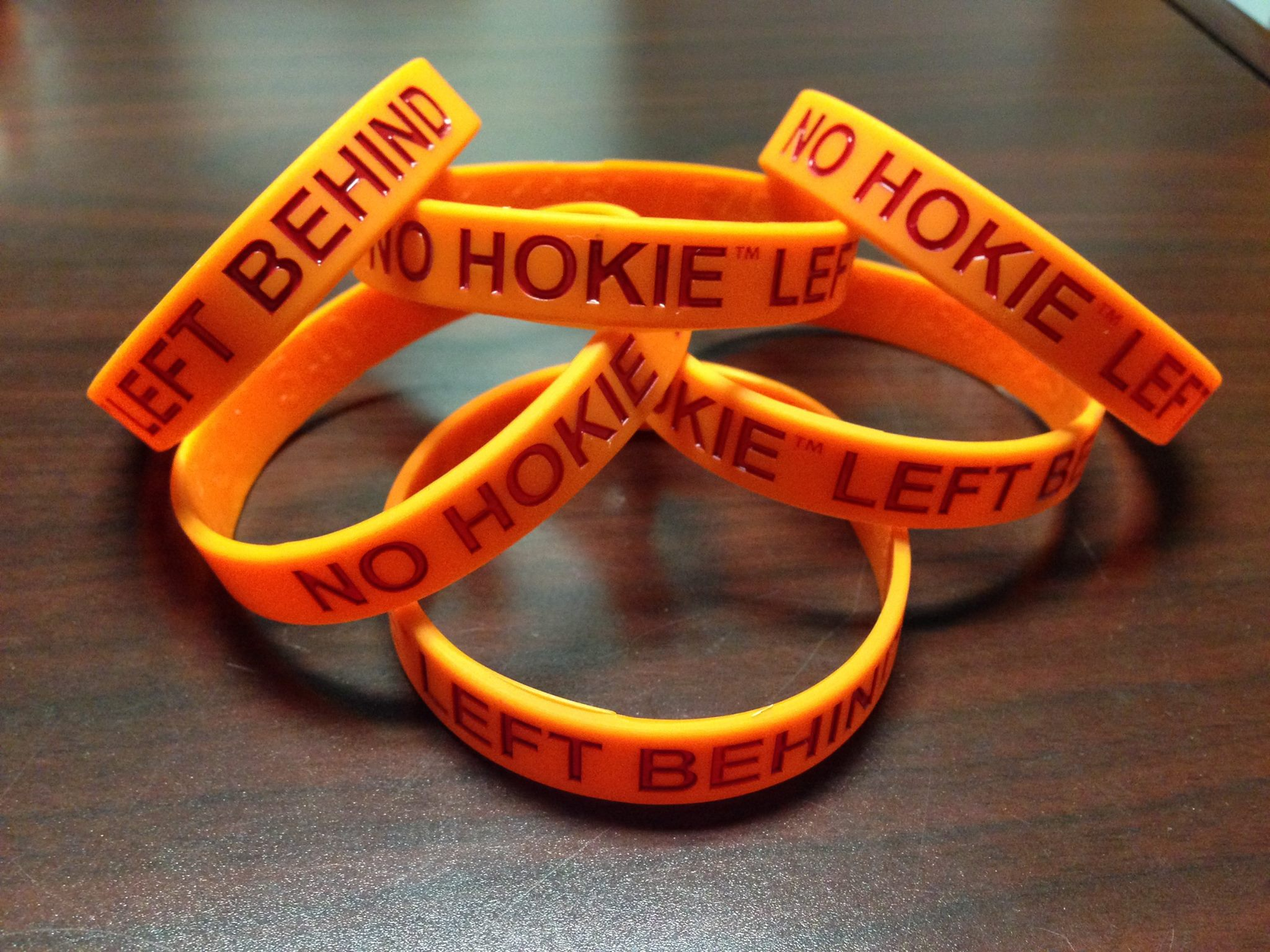 Bracelets for students who take the No Hokie Left Behind pledge.