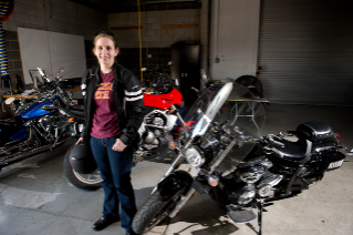 Virginia Tech graduate student Alexandria Noble is exploring ways to make motorcycle riding safer with connected-vehicle technology.