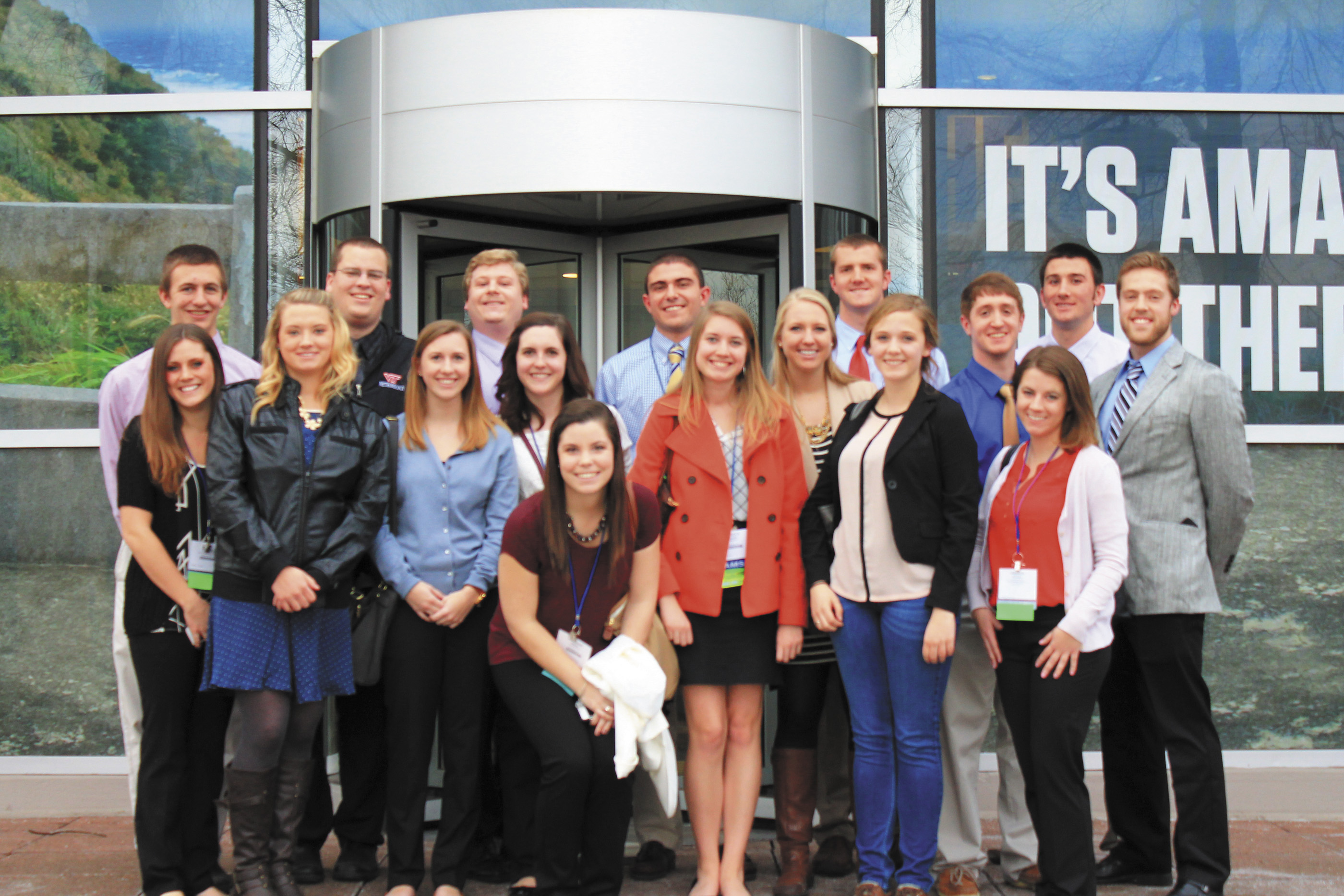 Virginia Tech Meteorology Club in front of The Weather Channel's Atlanta headquarters